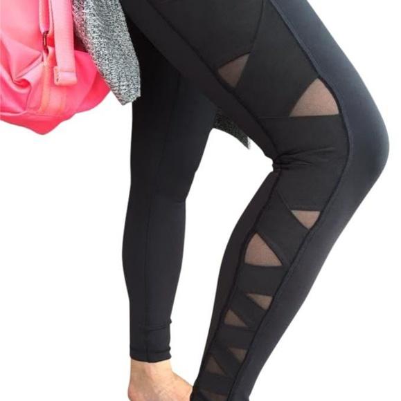 d8b686efaf lululemon athletica Pants - RARE Lululemon Rise & Flow Black Legging Mesh  Side